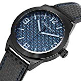 Willis Judd Blue Carbon Fiber Dial Stainless Steel Watch with Leather Strap