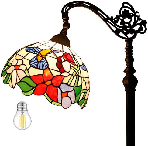Tiffany Style Reading Floor Lamp Lighting W12H64 LED Bulb Included Stained Glass Hummingbird Design Lampshade Antique Adjustable Arched Standing Base S101 WERFACTORY LAMPS Lover Bedroom Beside Gift