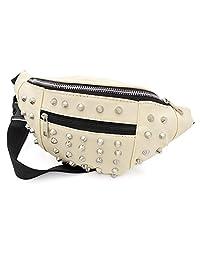 Cream Studded Faux Leather Waist Bag Fanny Pack Money Bum Bag Hip Belt