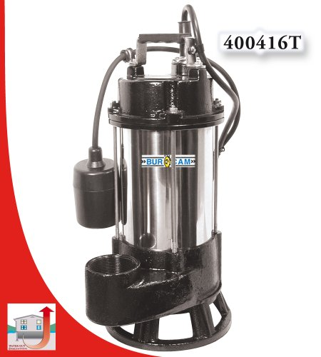 BurCam Heavy-Duty Stainless Steel/Cast Iron Grinder Pump - 4200 GPH, 3/4 HP, Model# 400416T