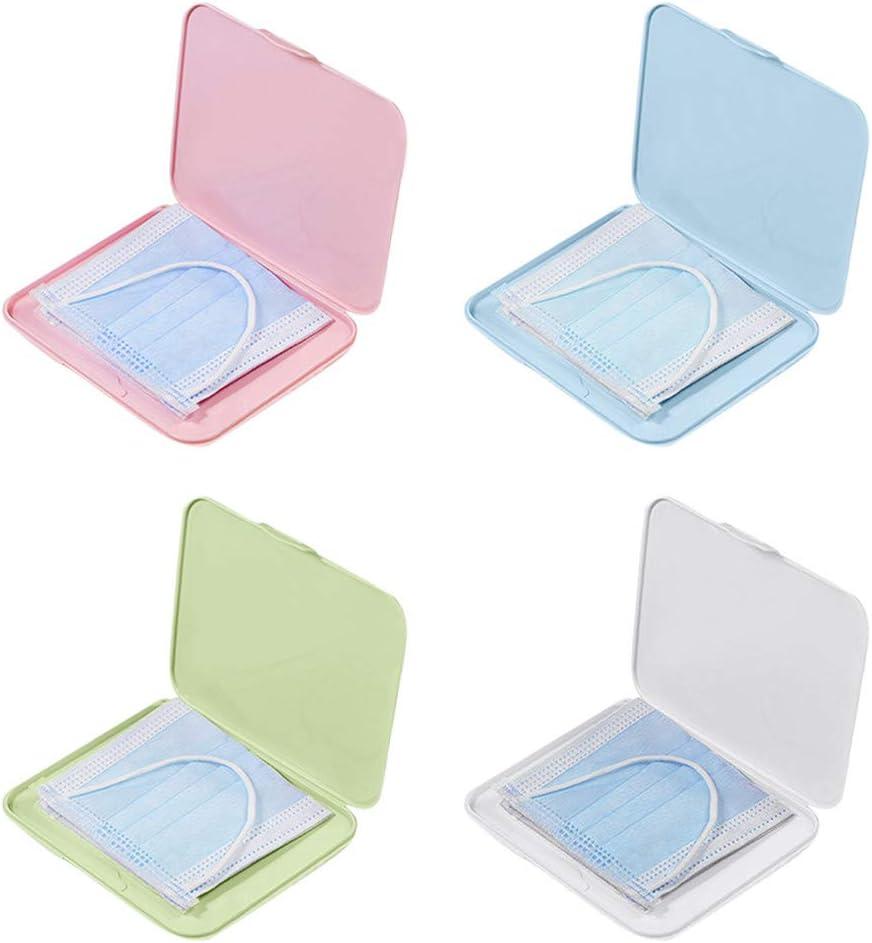4pcs Organizador mascarillas Caja para Guardar Mascarillas Reutilizable Estuches de Almacenaje de Plástico Portátiles con Tapas,Clip de Almacenajede Máscara de Prevención Contaminación,Cuatro Colores