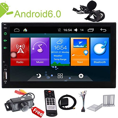Android Touch Screen Car Stereo 7 inch Double Din in Dash Car Radio Video Player GPS Navigation System Support Bluetooth WiFi Mirror Link Wireless Remote External MIC+Camera