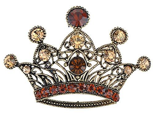 (Alilang Antique Golden Tone Shine Smoker Topaz Rhinestones Princess Queen King Crown Brooch Pin Pendent)