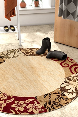 Well Woven Barclay Vane Willow Damask Beige Modern Area Rug 3