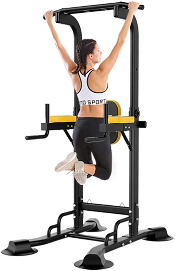 Diophros Power Tower Pull Up Bar, Adjustable Height Pull Up Dip Station Multi-Function Home Gym Strength Training Fitness Workout Station