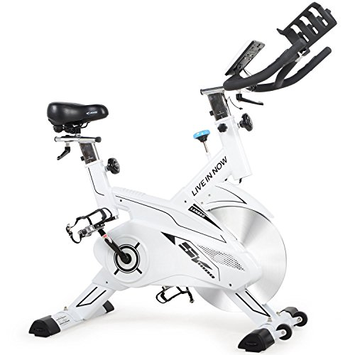 Cheap L NOW Indoor Cycling Bike Trainer Belt Drive and Sturdy (White)