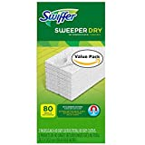 Swiffer Sweeper Dry Sweeping Pad Refills for Hardwood and Floor Mop Cleaner Unscented (80 Count)