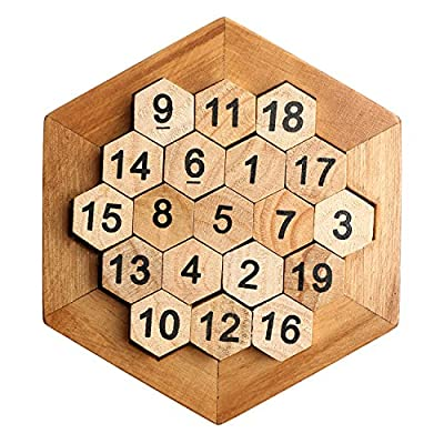 Wooden Digital Platter Puzzle,Classical Puzzle Toys Brain Teaser Wooden Hexagon Digital Puzzle Toys,Digital Game Number 19 Sum Equal to 38 Math Board Game Toy for Kids and Adults: Toys & Games