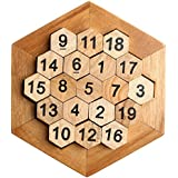 Wooden Digital Platter Puzzle,Classical Puzzle Toys Brain Teaser Wooden Hexagon Digital Puzzle Toys,Digital Game Number 19 Sum Equal to 38 Math Board Game Toy for Kids and Adults