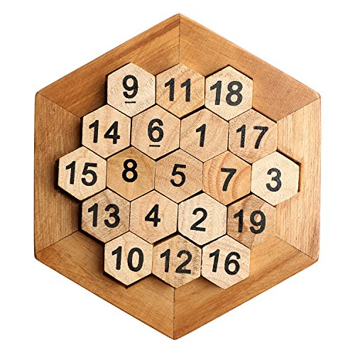 Right Brain Teaser Puzzle - Bright Sport Wooden Digital Platter Puzzle,Classical Puzzle Toys Brain Teaser Wooden Hexagon Digital Puzzle Toys,Digital Game Number 19 Sum Equal to 38 Math Board Game Toy for Kids and Adults