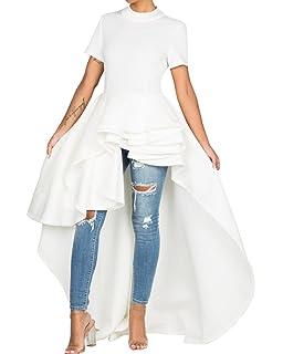 f863e0f7d2f Misassy Womens Runway High Low Peplum Top Maxi Dress Short Sleeve Ruffle  Swallowtail Dresses for Party