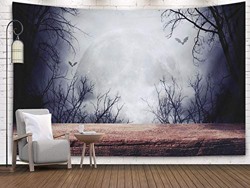 Sertiony Hanging Wall Tapestry, Art Map Tapestry Décor 80x60 Inches Wood Table and Silhouette Dead Tree at Night for Halloween Background for Bedroom Colorful Big Tapestries]()