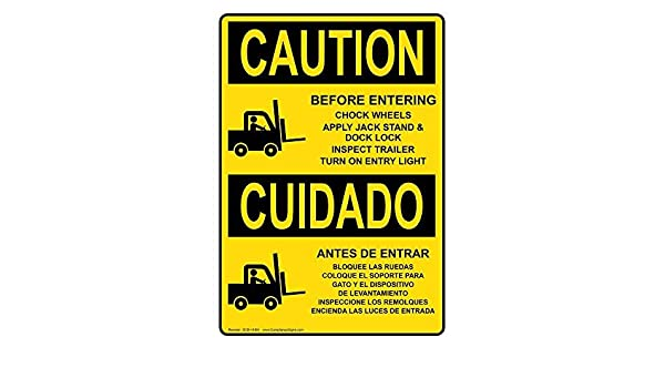 Vertical OSHA Caution Before Entering Chock Wheels Bilingual Sign with English + Spanish Text and Symbol Yellow Safety Label Decal Sticker Vinyl Label 12 X ...