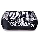 Echo Paths Comfortable Pet Bed Sleep Cozy Dog Cat Caves Beds for Pets Paw Printed Zebra M (22.817.75.5 inch)