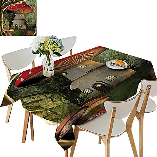 (UHOO2018 Decorative Tablecloth Square/Rectangle mShroom House in Enchanted Forest Wih Ladybug and Snail Whimsical Tree Branches Assorted Size,50 x102inch)