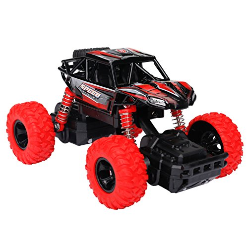 Think Wing 4WD Pull Back Monster Trucks with Music & Light High Speed Die-cast Buggy Functions Toy Cars 4 Styles Collectable Off-Road Car Gift for Kids 1:32 Scale (Style 1(Red)) (Monster Truck Sound)