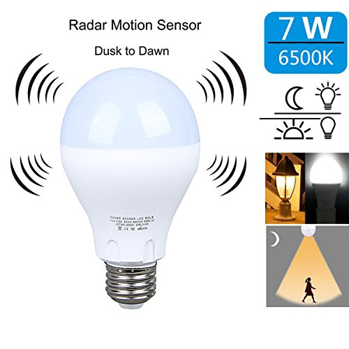 Motion Sensor Light Bulb 7W Smart Bulb Dusk to Dawn LED Motion Sensor Light Bulbs E26 Base Indoor Sensor Night Lights Soft White 6500K Outdoor Motion Sensor Bulb Auto On/Off by aijiaer
