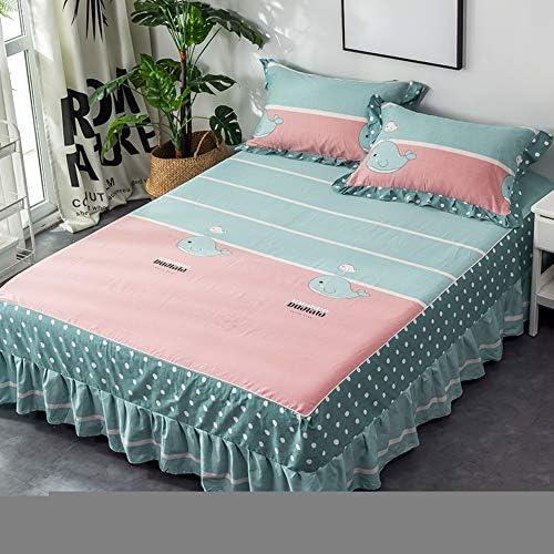 プリーツ ベッドスカート ほこりフリル ベッドシーツ, 通気性 綿 ベッドカバー 滑り止め ソフト ベッドスプレッド,ラップ シワ 装飾的です ベッドラッフル ベッド カバー 2ピローケース付き-f 180x200cm(71x79inch)