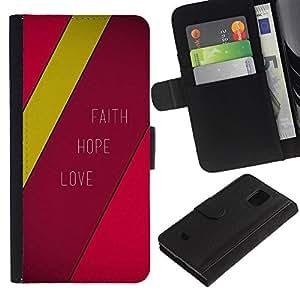EuroCase - Samsung Galaxy S5 Mini, SM-G800, NOT S5 REGULAR! - FAITH HOPE LOVE - Cuero PU Delgado caso cubierta Shell Armor Funda Case Cover