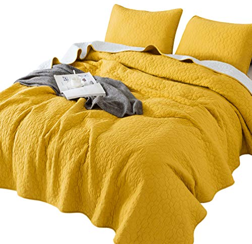 Yellow Quilt Set - ANNA.Z HOME Seville, Mason, Coverlet, Quilt Collection, 100% Cotton 3 Piece Set. Trendy Embroidery & Quilting. Ivory and Gray Color. Reversible. Good for All Seasons (Yellow, Oversize Twin Set)