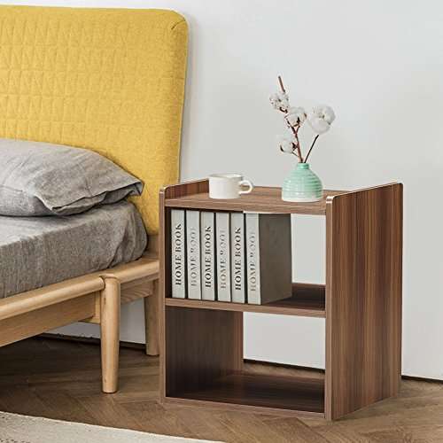 GreenForest Bedside Table 3-Tier Wood Organizer Storage Shelf for Bedroom Nightstand End Side Coffee Table, Walnut by GreenForest (Image #6)