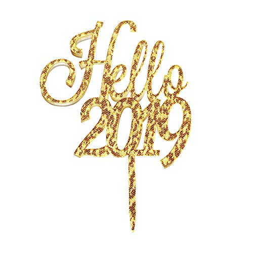Hello 2019 Cake Topper, Happy New Year Party Decorations, Cheers to 2019 Cake Topper, Gold Glitter New Year Party Supplies