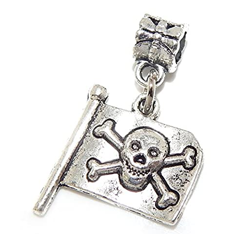GemStorm Silver Plated Dangling Pirate Flag For European Snake Chain Bracelets - Crossbones Slide Charm