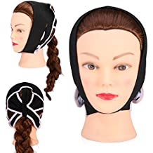 Facial Slimming Mask Face Lift Up Thin Neck Mask Sleeping Face-Lift Reduce Double Chin Bandage((Black) L)