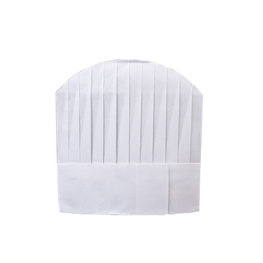 Fine commodities Disposable Non Woven Flat Chef Hat, 27×29cm, White, Set of 50