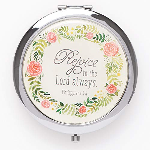 Rejoice In The Lord Always Folding Compact Mirror 2x Magnification Ultra Portable for Purses Travel-Philippians 4 4 Bible Verse, Inspirational Gift Women Ladies Retreats Weddings Showers