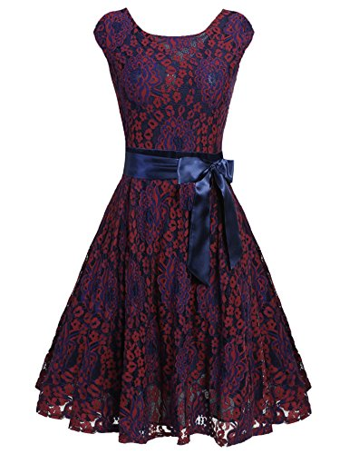 ARANEE Women Vintage Round Neck Short Sleeve Lace Cocktail Dress (XXL, Wine Red) - Belt Wine