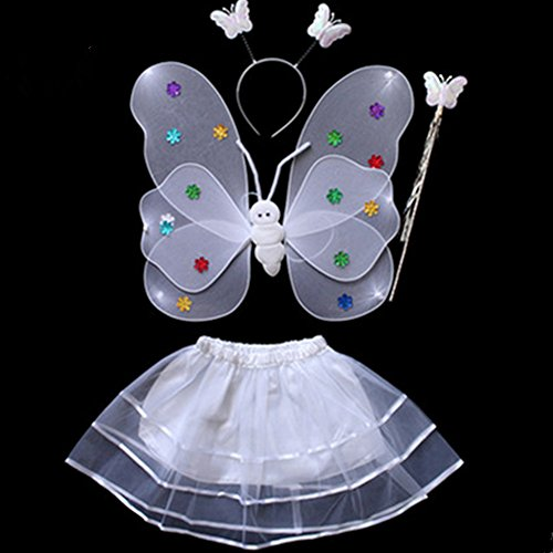 Shrub Costume (Spritech(TM) Girls White Performance Clothing Set Butterfly Wings Headband Set)