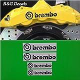 R&G Brembo 6 Piston & 4 piston High Temp Brake Caliper Decal Sticker Set of 4 (Black)