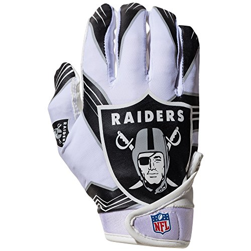 NFL Oakland Raiders Youth Receiver Gloves,White,Medium