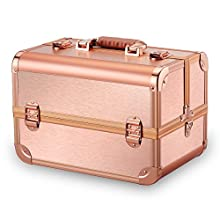 Ovonni Professional Portable Makeup Train Case, Artist Lockable Aluminum Cosmetic Organizer Storage Box with 15 Compartments 4 Trays, Rose Gold