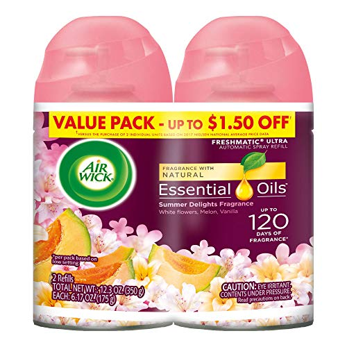 (Air Wick Life Scents Automatic Air Freshener Spray, Summer Delights with White Flowers, Melon & Vanilla Scent, 6.17 oz each 2 ea (Pack of)
