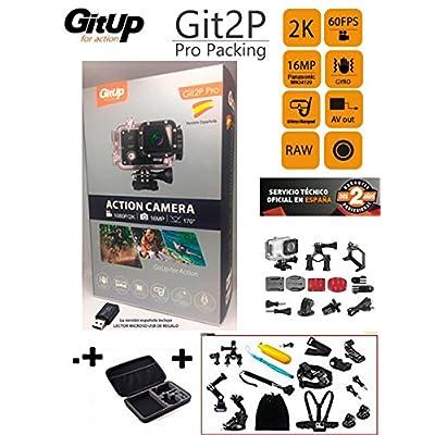 'Caméra sport GitUp git2p Pro Edition Version Espagnole (nouveau modèle 2017, 2ans de garantie officielle GitUp Espagne) + Valise avec 16accessoires extra. Capteur Panasonic 1080P 24FPS 1080