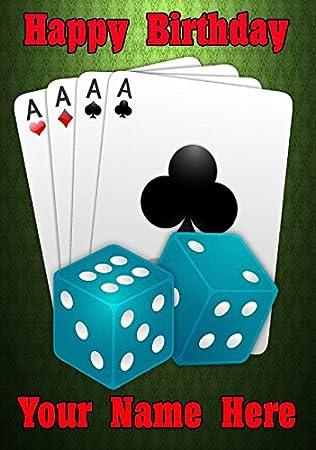 Cuatro ases y dados Casino Vegas cptmi75 feliz cumpleaños A5 ...