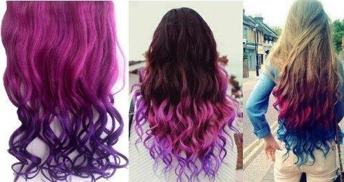 Мода Sexy Two Tone Длинные Curl / вьющиеся / волнистые клип в наращивание волос Pieces Парик девочек, тень горячего розового до темно-фиолетовый