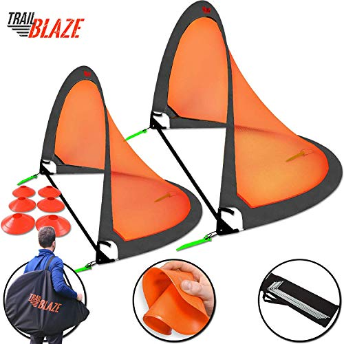 Trailblaze Pop Up Soccer Goals Set - 2 Portable Foldable Kids Soccer Nets w/ 8 Training Disc Cones Extra Pegs + Carry Case - Perfect Youth Soccer Goals for Backyard Extra-Strong Soccer Goal Net (10 Greatest Soccer Players Of All Time)