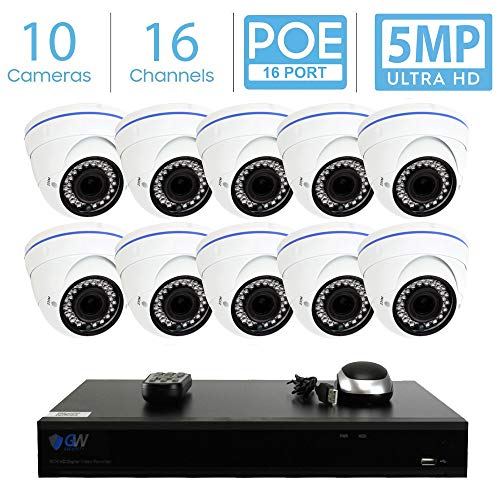 GW 16 Channel 5MP Video Surveillance System, 16CH 4K NVR w/ 3TB HDD (2 SATA, Up to 16TB), 10 PoE IP 5MP Wide Angle Weatherproof Dome Security Camera for 24/7 Recording & Remote Home Monitoring System