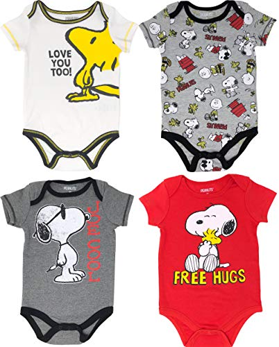 (Peanuts Snoopy Baby Boys' 4 Pack Bodysuits Charlie Brown Woodstock Joe Cool 12M)