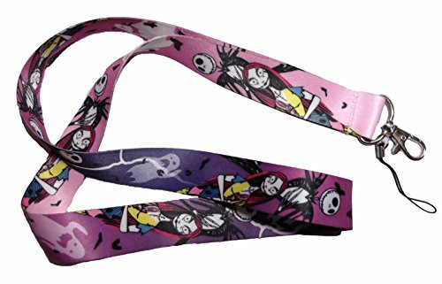 Nightmare before Christmas Jack & Sally Purple Keychain LANYARD