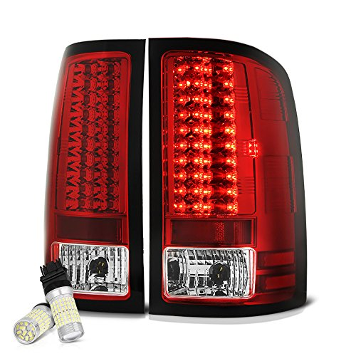 Gs07 Led ([Full SMD LED Reverse Bulbs] VIPMotoZ 2007-2013 GMC Sierra 1500 2500HD 3500HD LED Tail Lights - [Single Rear Wheel Model] - Metallic Chrome Housing, Rosso Red Lens, Driver and Passenger Side)
