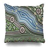 VanYES Throw Pillow Covers Aborigines Australia Based On Aboriginal Dot Painting Depicting Cultures Abstract Australian Pattern Map Home Decor Sofa Pillowcase Square Size 16 x 16 Inches Cushion Case