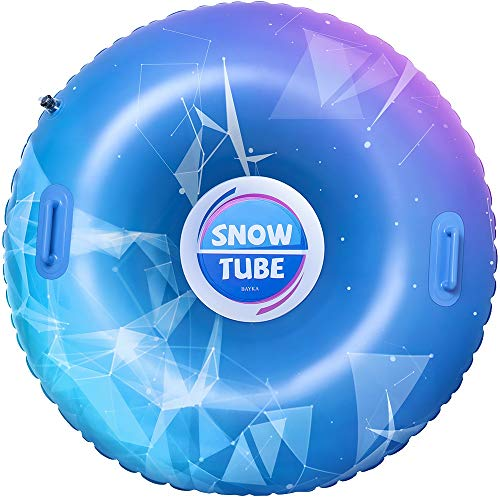 BAYKA Snow Tube for Winter Fun, Inflatable 47 Inch Heavy Duty Snow Sleds for Youngsters and Adults, Sturdy Sledding Tubes, Easy to Grip Handles, Carrying Bag Included