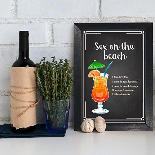 Quadro Bebida Sex on the Beach 22x32cm Moldura Preta