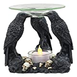 Ebros Skull Graveyard With Three Ravens Oil Warmer Statue Wax Tart Burner Aroma Scent Diffuser Resin Three Eyed Raven Gothic Themed Decorative Figurine
