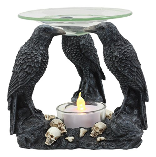 (Ebros Skull Graveyard with Three Ravens Oil Warmer Statue Wax Tart Burner Aroma Scent Diffuser Resin Three Eyed Raven Gothic Themed Decorative Figurine)