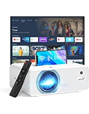 """YEHUA WiFi Projector, 4K HD Outdoor Projector Mini Projector with Remote, 1080P & 200"""" Screen Supported, Movie Home Theater for TV Stick, Video Games, PS4, HDMI, USB, AUX, AV, Laptop,PC, iOS & Android"""